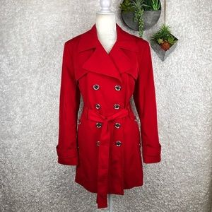 Calvin Klein Red Water Resistant Trench Coat   XL